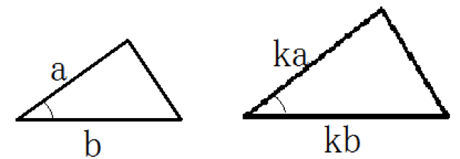 2組の辺の比とその辺で挟まれる角がそれぞれ等しい